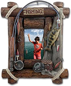 Fishing Picture Frame, 4x6 Photo, Hand-painted Resin.