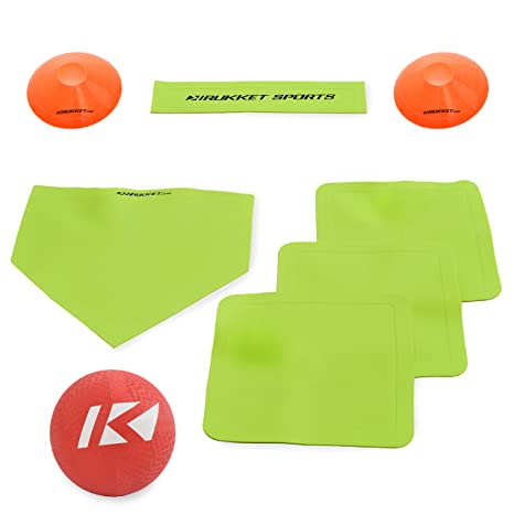 Rukket Kickball Set with Bases | Rubber Throw Down Plates and Kick Ball |  Perfect for