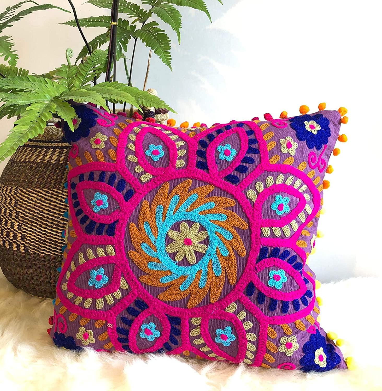 Amazon Com Traditional Jaipur Suzani Pillows Embroidered Cushion Cover 16x16 Decorative Throw Pillow Case Indian Pom Pom Outdoor Cushions Boho Pillow Shams Home Kitchen