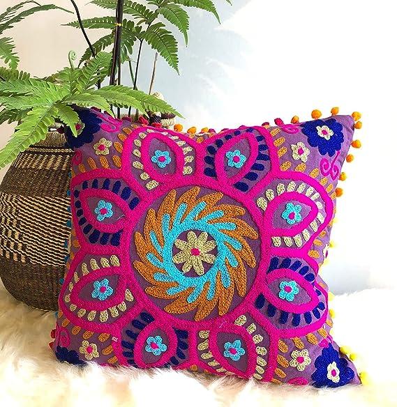 hand embroidery,Home Decor pillow,Decorative pillow,Boho pillow,Tapestry pillow19.5x19.5 inch Uzbek suzani pillow