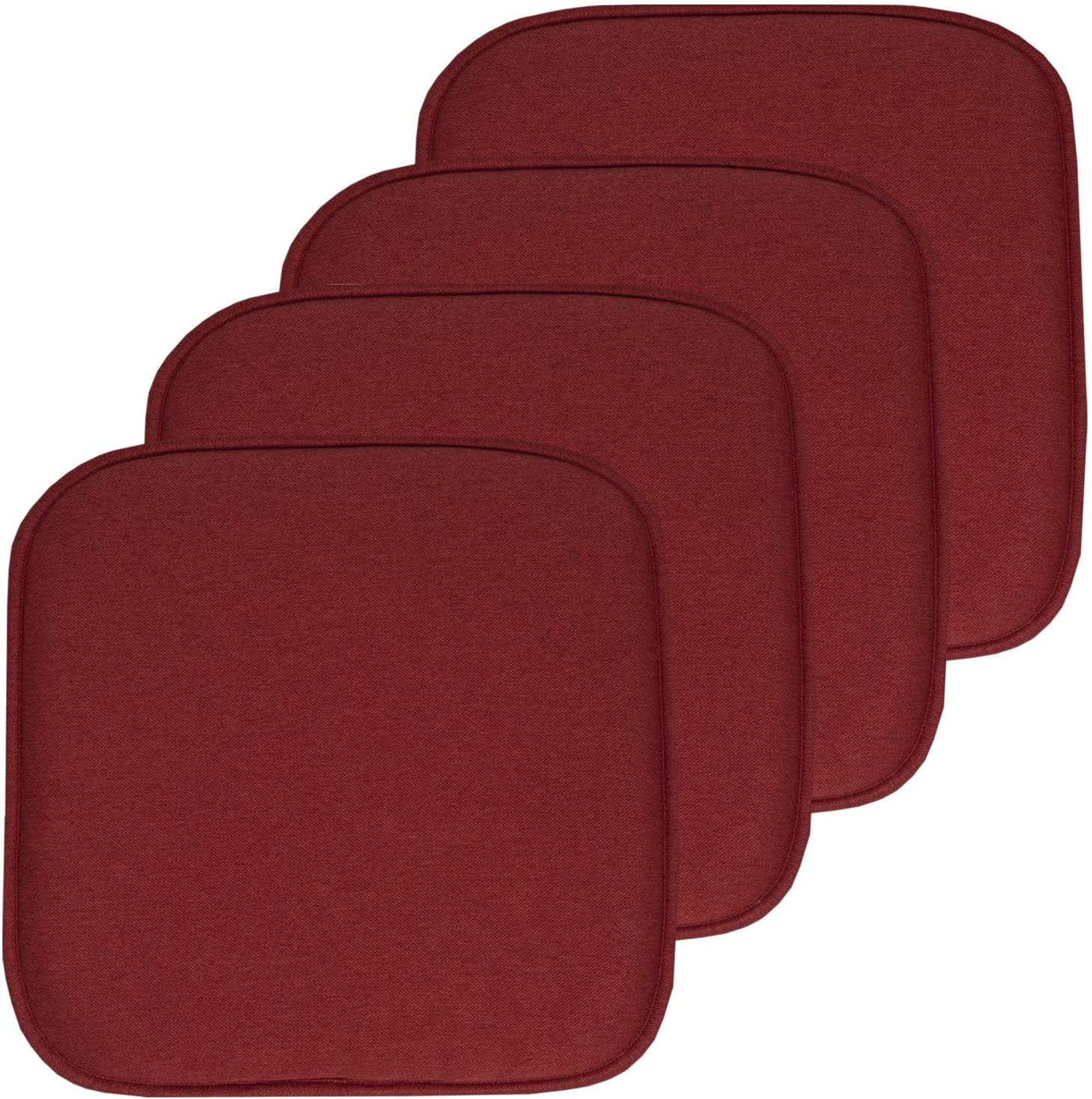 "Sweet Home Collection Chair Cushion Memory Foam Pads Honeycomb Pattern Slip Non Skid Rubber Back Rounded Square 16"" x 16"" Seat Cover, 4 Pack, Charlotte Wine"