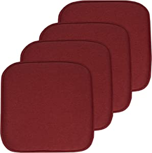 """Sweet Home Collection Chair Cushion Memory Foam Pads Honeycomb Pattern Slip Non Skid Rubber Back Rounded Square 16"""" x 16"""" Seat Cover, 4 Pack, Charlotte Wine"""