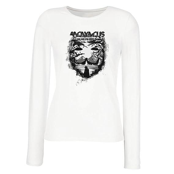 lepni.me Camisetas de Manga Larga para Mujer Hacktivist Mask - Citas de protesta por Anonymous - Somos el 99%: Amazon.es: Ropa y accesorios