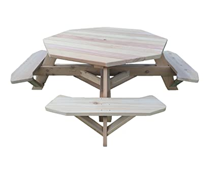 Western Red Cedar 61u0026quot; Octagon Top Picnic Table W/Easy Seating