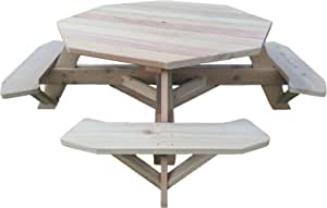 "Western Red Cedar 61"" Octagon Top Picnic Table w/Easy Seating"