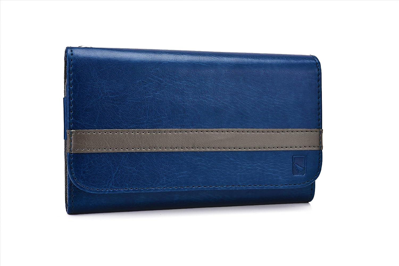 Funda tipo cartera Belt Clutch de Cooper Cases(TM) para smartphones de BenQ B502 / F5 para sujetar al cinturón en Azul / Gris (Tira para sujetar al cinturón ...