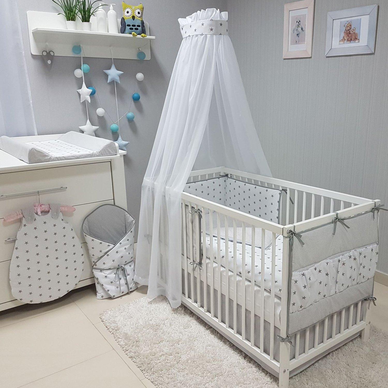 00 Grau uni Baby-Joy Betttasche ZICK ZACK Linie 100/% Baumwolle Utensilo H/ängeaufbewahrung