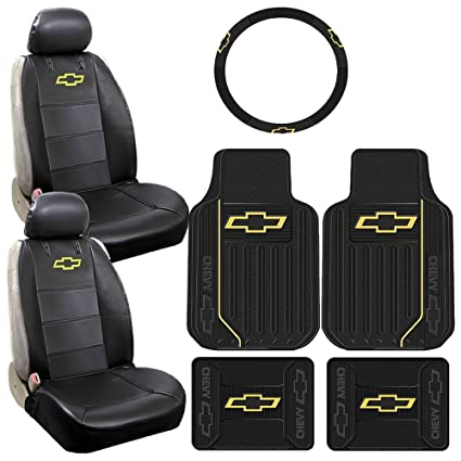 7pc Chevrolet Chevy Logo Elite Style Floor Mats Airbag Ready Sideless Seat  Covers Steering Wheel Cover