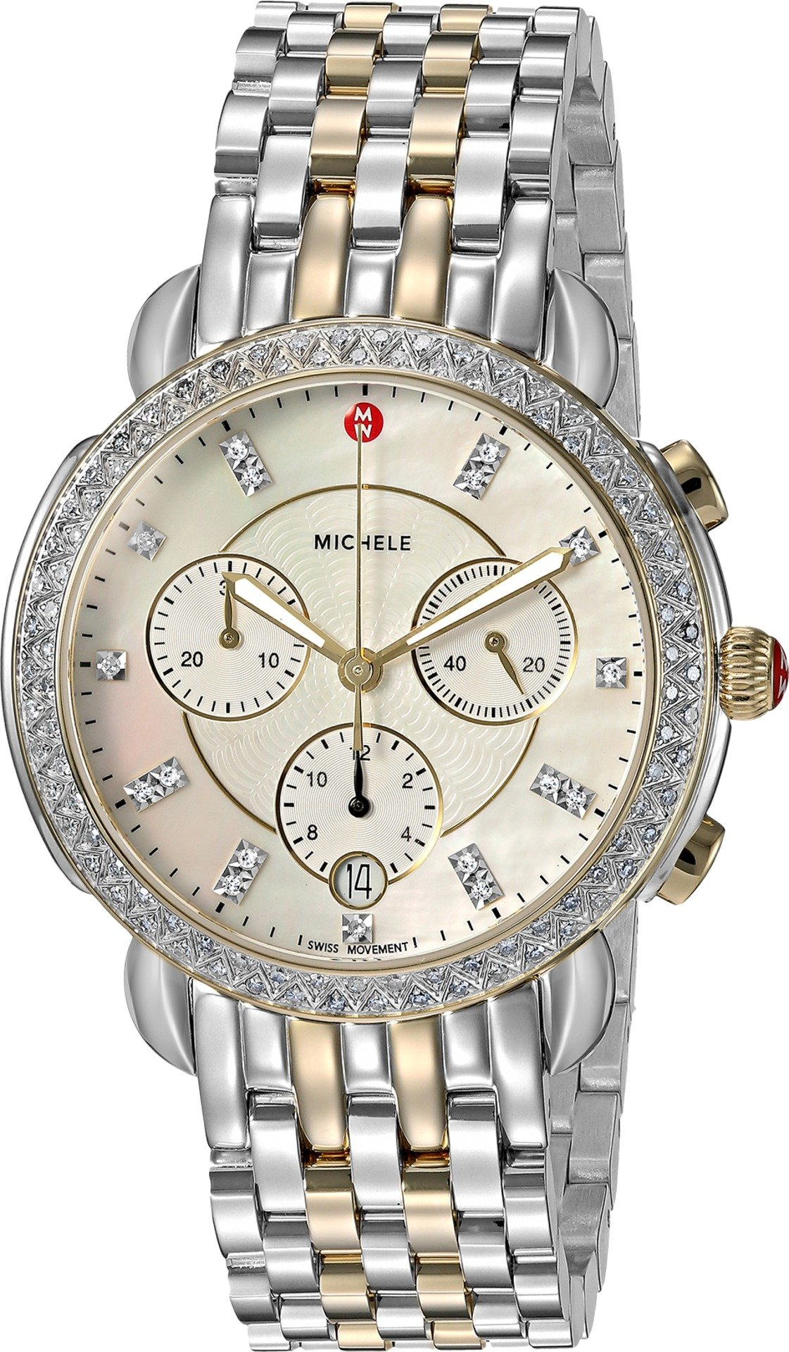 MICHELE Women's 'Sidney' Swiss Quartz Stainless Steel Casual Watch, Color:Two Tone (Model: MWW30A000005) by MICHELE