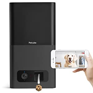 Petcube Bites Pet Camera with Treat Dispenser: HD 1080p Video Monitor, 2-Way Audio, Night Vision, Sound and Motion Alerts. Designed for Dogs and Cats