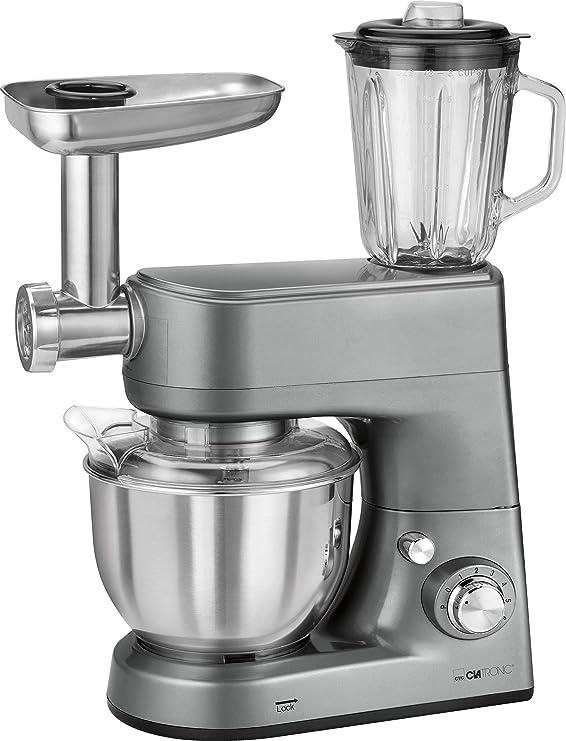 Clatronic KM 3648 Robot de Cocina multifunción amasadora, picadora de Carne, batidora Vaso, Pasta, 1000 W, 5 litros, Acero Inoxidable|Alumnio, 8 Velocidades ...