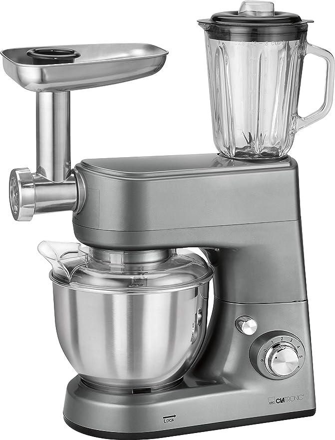 Clatronic KM 3648 Robot de Cocina multifunción amasadora, picadora de Carne, batidora Vaso, Pasta, 1000w, 1000 W, 5 litros, Acero Inoxidable|Alumnio, ...