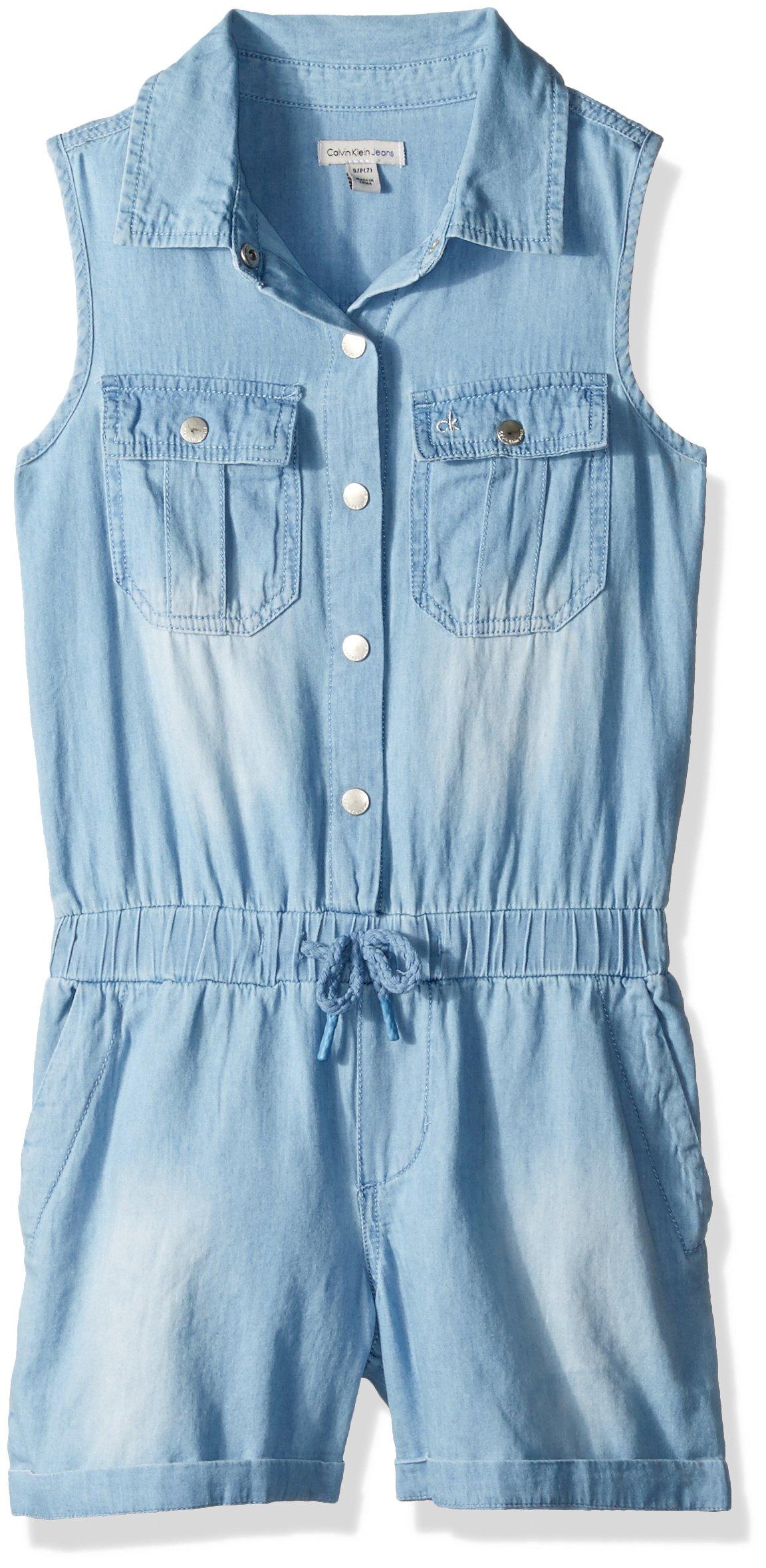 Calvin Klein Big Girls' Short Jumpsuit, Sky, Large