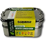 PREMIUM Stainless Steel Lunch Container by GRUB2GO + FREE BENTO FOOD IDEAS GUIDE   Premium 3-Layer 1600 ML Metal Tiffin Bento Box