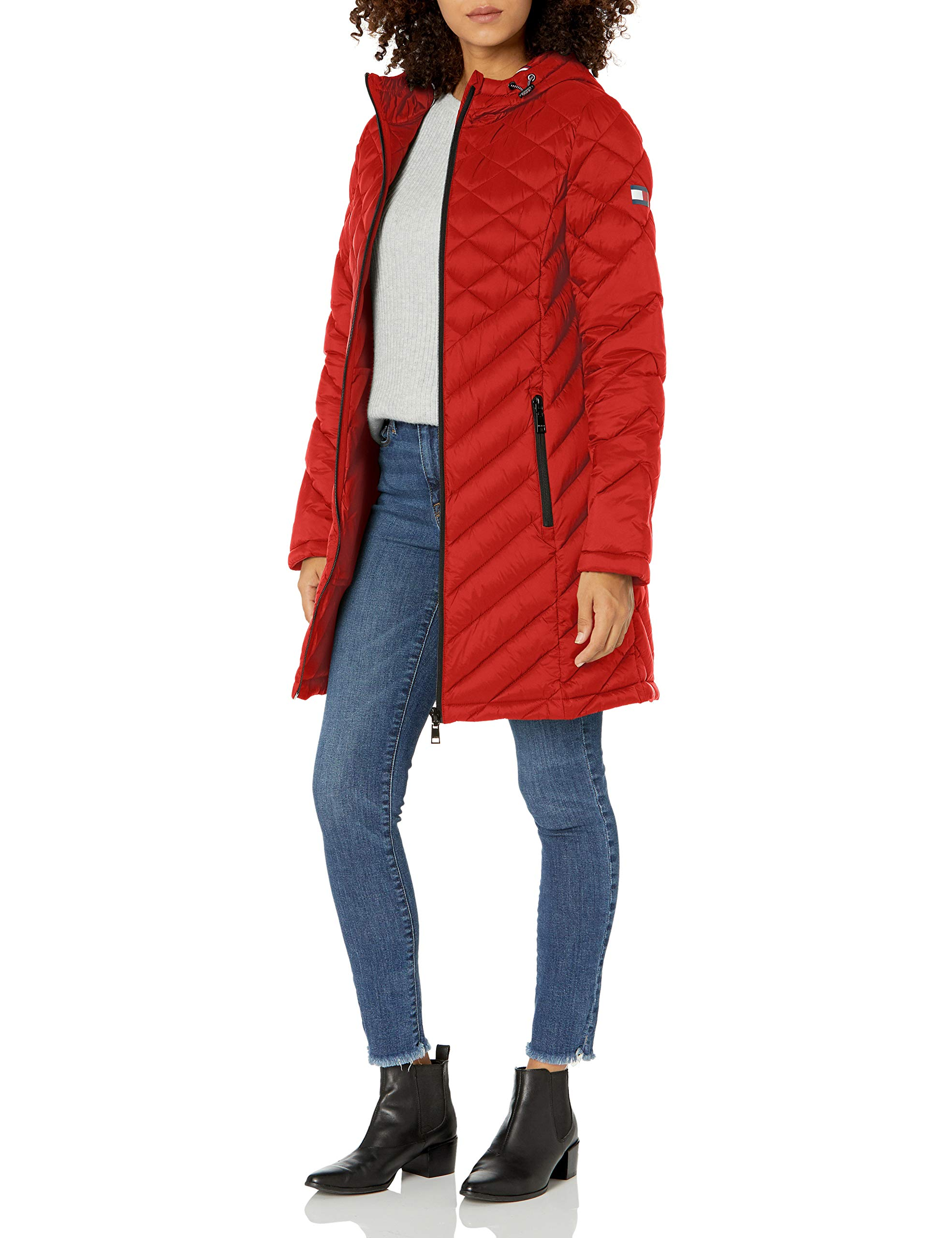 Tommy Hilfiger womens Midlength Hooded and Quilted Packable Jacket