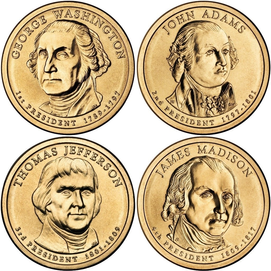 Eight Coins-From Mint Set-BU 2013 P and D Uncirculated Presidential Dollars