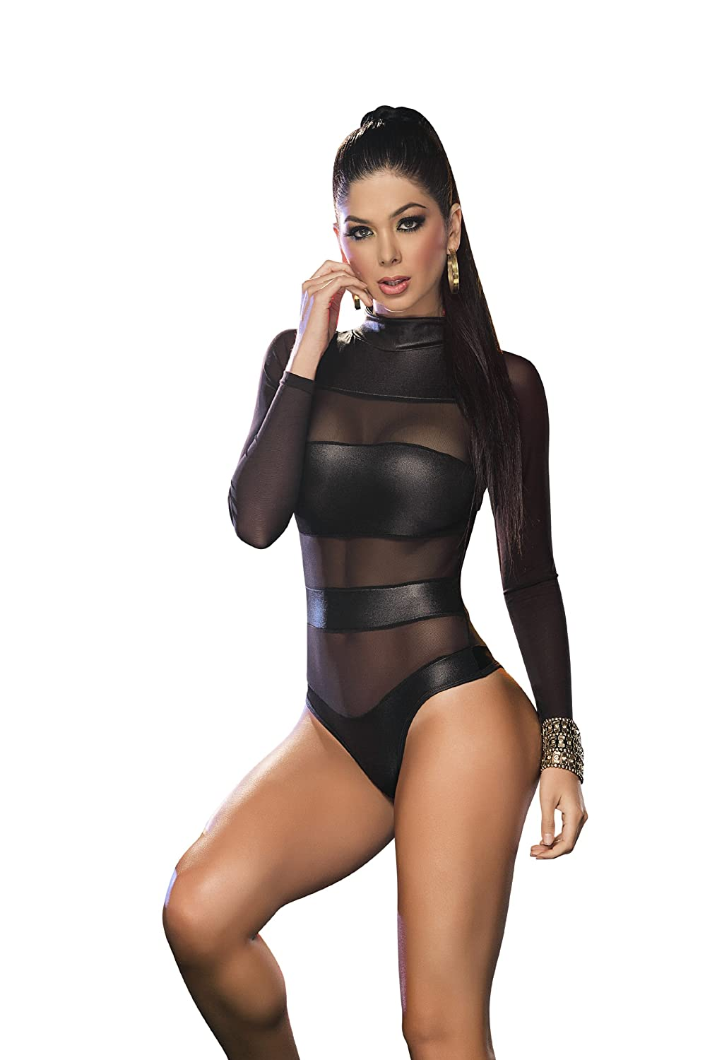 Espiral Women's Mesh Banded Bodysuit, Black, Medium 2217