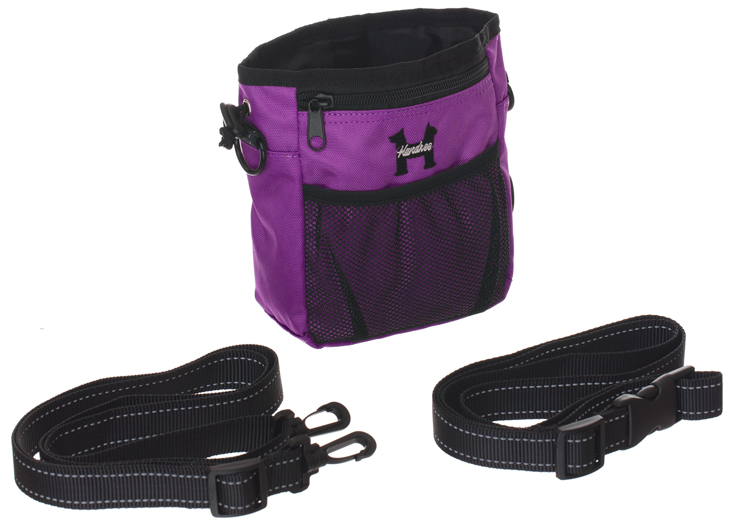 Purple Dog Treat Bag – Treat Training Pouch for Small, Medium and Large Dogs with Built-In Poop Bag Dispenser, Waist and Shoulder Reflective Straps and Belt Clip - Puppy and Adult Dog Treats Tote Bag