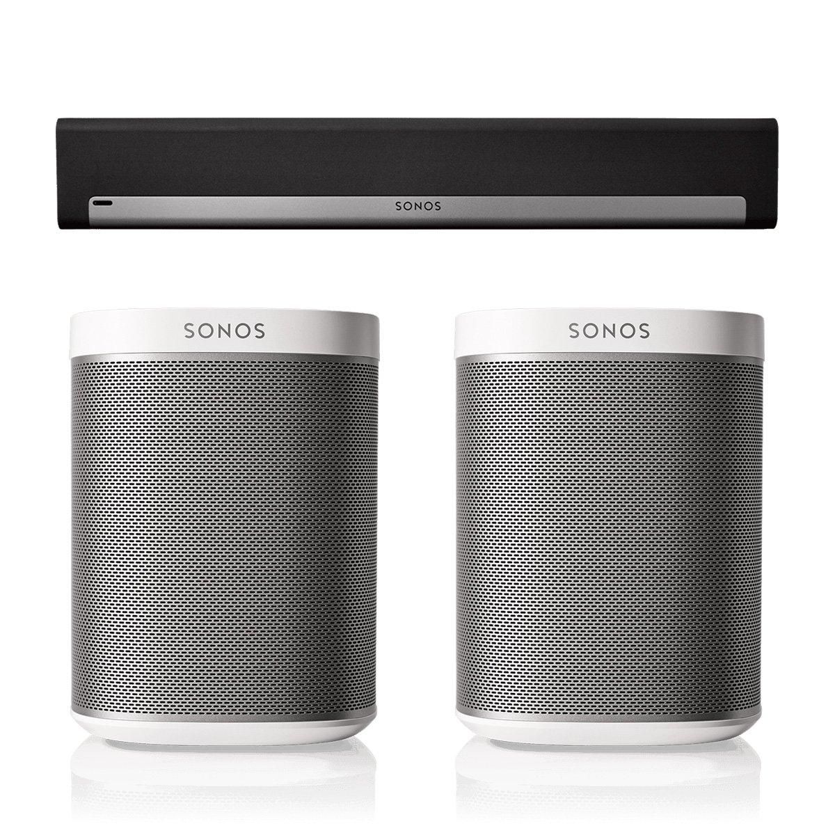 Sonos PLAYBAR Surround Sound System with PLAY:1 Pair (White)