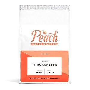 Peach Coffee Roasters - Medium Roast - Yirgacheffe, Ethiopian Single-Origin Fair Trade Ground Coffee - Heirloom - 12 oz.