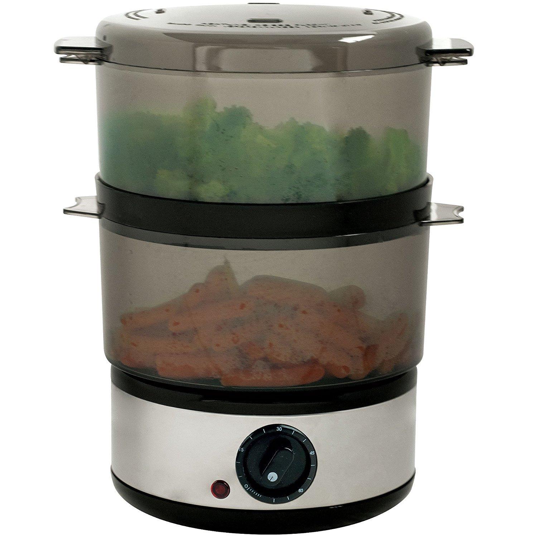 Chef Buddy 72-9093 400-Watt Stainless Steel Food Steamer, 4-Quart 2-Pack