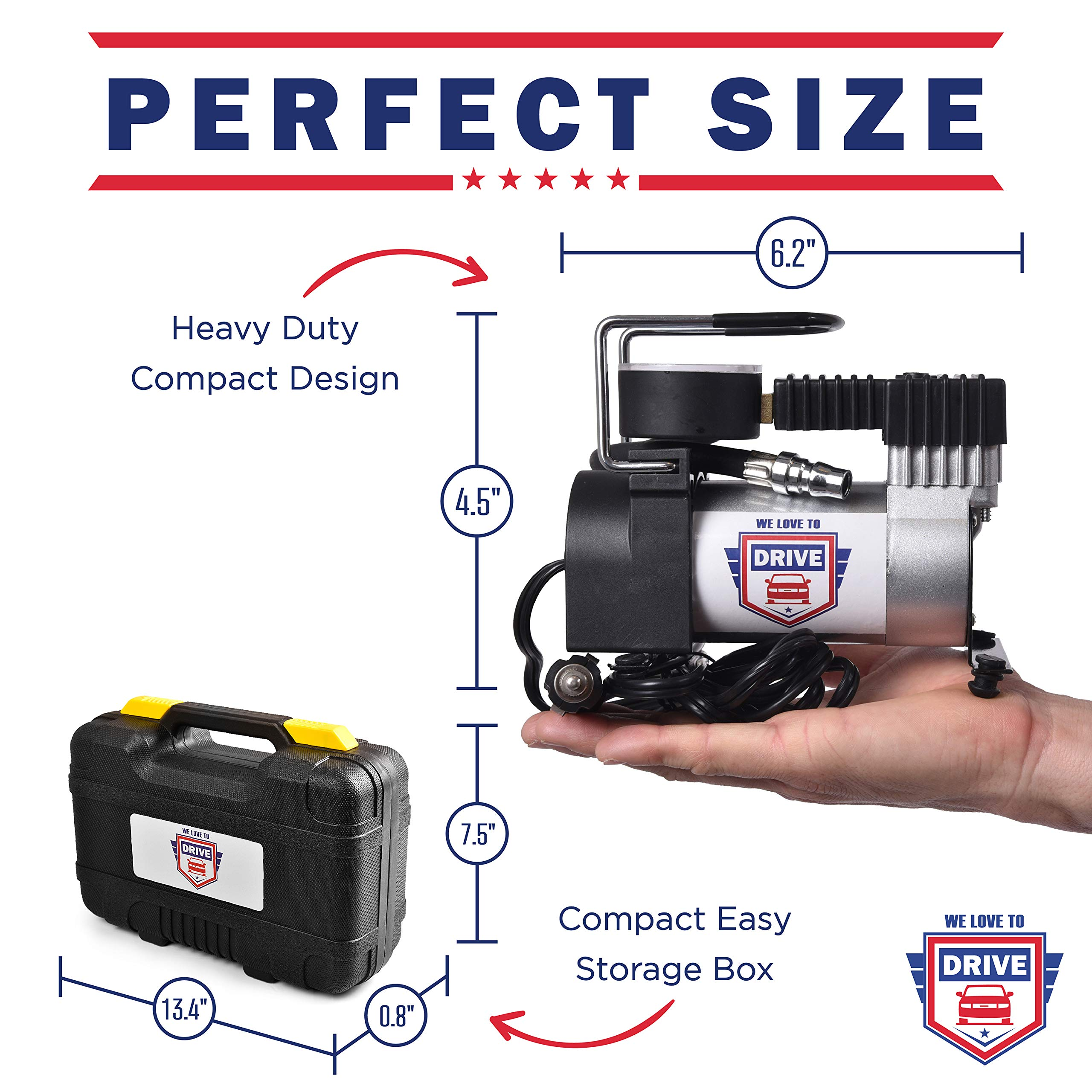 12V DC Best Air Compressor Tire Inflator with Gauge – 150 PSI Portable Air Pump for Car Tires, Trucks & Inflatables – DOUBLE BONUS Tire Puncture Repair Kit & Carry Case – by We Love to Drive by WE LOVE TO DRIVE (Image #5)