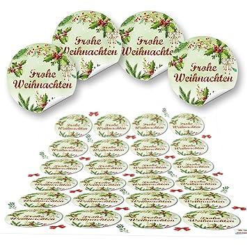 Frohe Weihnachten Aufkleber.2 X 24 Aufkleber Rund 4 Cm Frohe Weihnachten Rot Grün Mistel