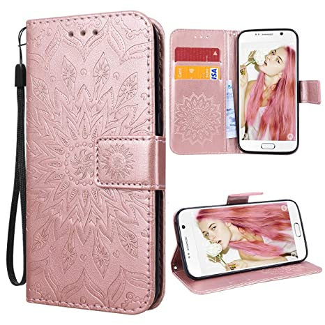 VemMore Kompatibel für Samsung Galaxy S6 Edge Hülle Handyhülle Schutzhülle Leder PU Wallet Flip Case Bumper Lederhülle Lederc