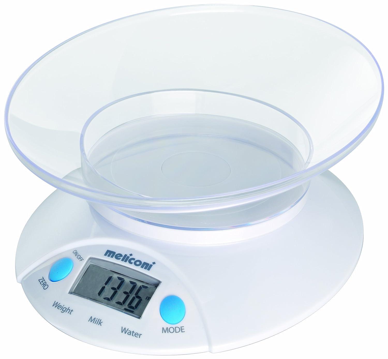 Meliconi Bilancia da Cucina Elettronica modello Oval con ciotola, batterie incluse, max 5 Kg 65510153700