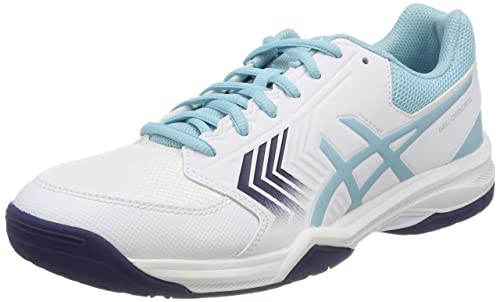 Asics Gel-Dedicate 5, Zapatillas de Tenis para Mujer, Blanco (White/Porcelain Blue/Indigo Blue 0114), 42.5 EU