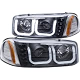 AnzoUSA 111303 GMC SIERRA 99-06 / YUKON/XL 00-06 / DENALI MODELS 01-06 PROJECTOR HEADLIGHTS U-BAR BLACK CLEAR