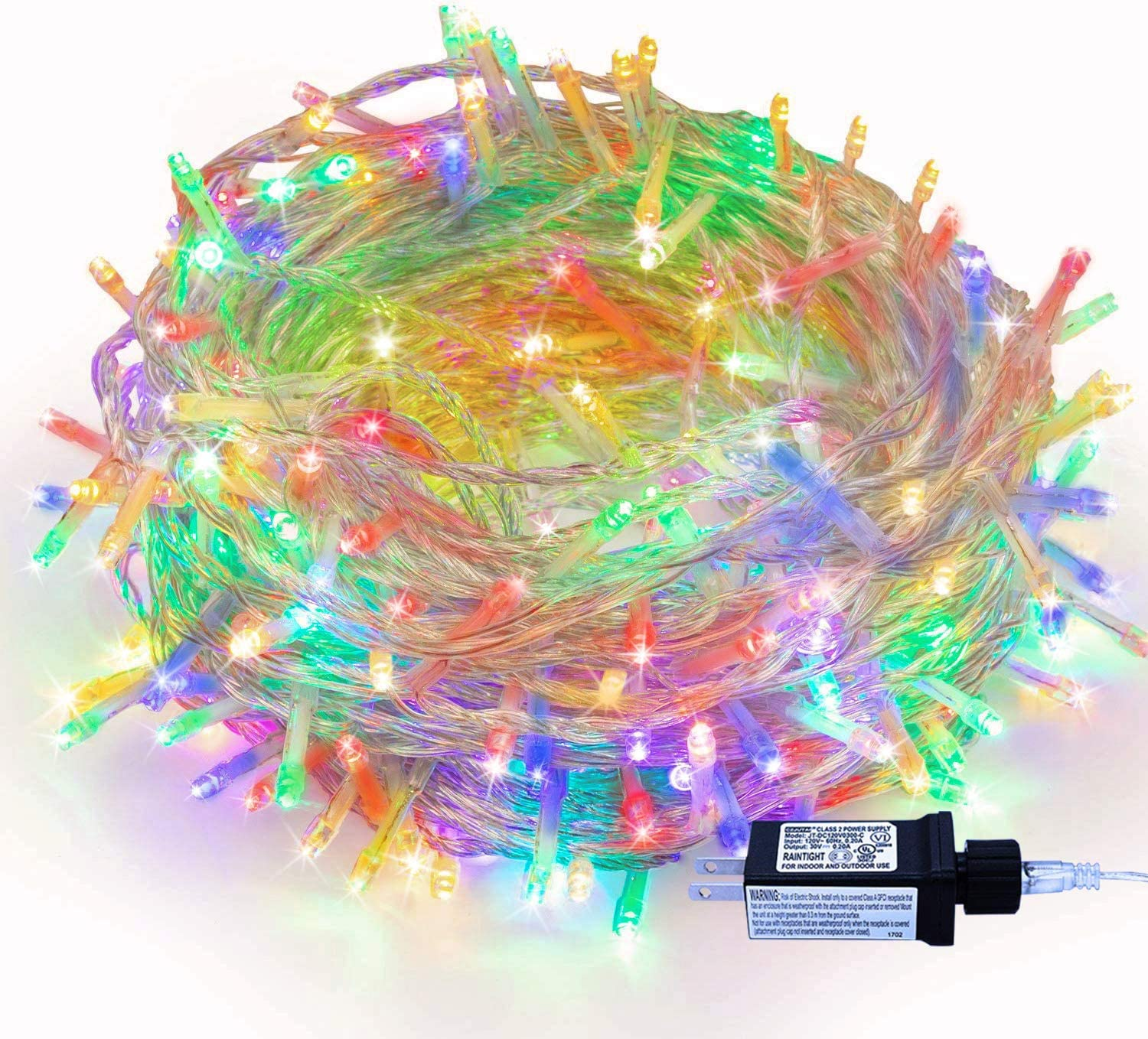Christmas Tree Lights - 320 LEDs 115ft/35m Memory Function End-to-End 8 Modes Plug in Indoor/Outdoor Waterproof Decorative Fairy Twinkle String Lights for Thanksgiving Day/Wedding/Patio - Colorful