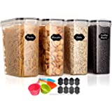 Aitsite Airtight Food Storage Containers 4 Pieces 4L (135.2oz)- Plastic BPA-Free Kitchen Pantry Storage Containers for Sugar,
