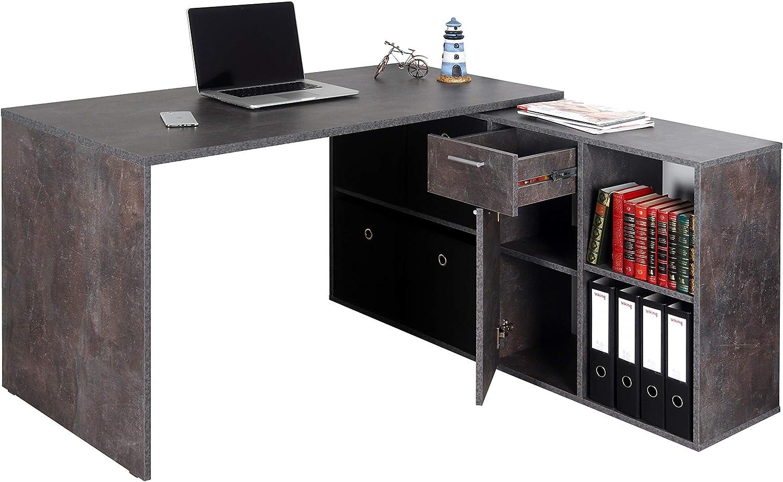 RICOO WM081-BG Escritorio esquinero Mesa Ordenador Esquina Organizador Oficina Muebles de hogar Buro rinconera PC Gaming Madera Gris Cemento