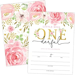 Little Miss Onederful First Birthday Invitation with Flowers and Butterflies, 20 Invitations and Envelopes