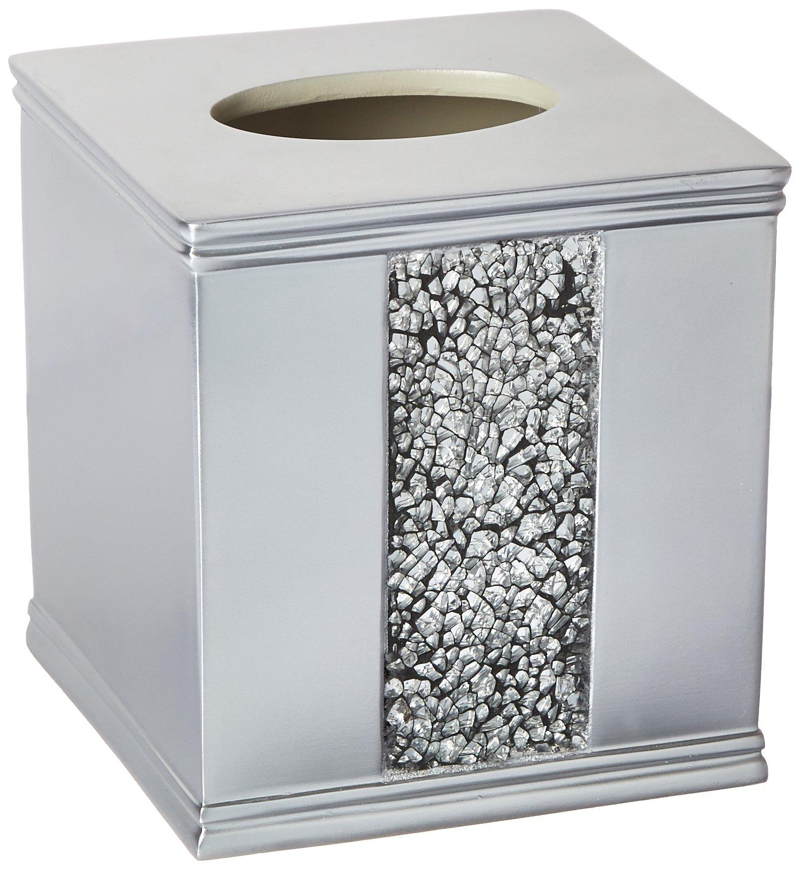 Popular Bath Tissue Box, Sinatra Collection, Silver by Popular Bath