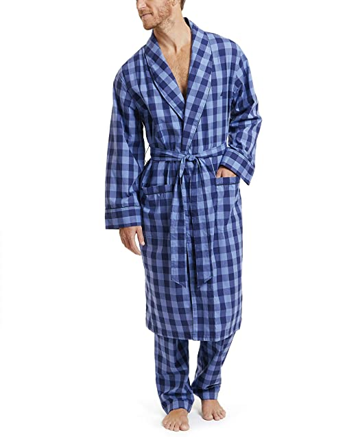 vente chaude en ligne 1641b 75a88 Nautica Men's Long Sleeve Lightweight 100% Cotton Shawl Collar Woven Robe