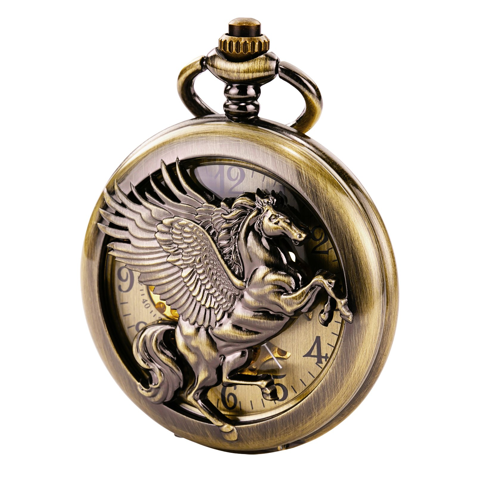 TREEWETO Vintage Mechanical Skeleton Hollow Pegasus Carved Pocket Watch for Men Women, Bronze