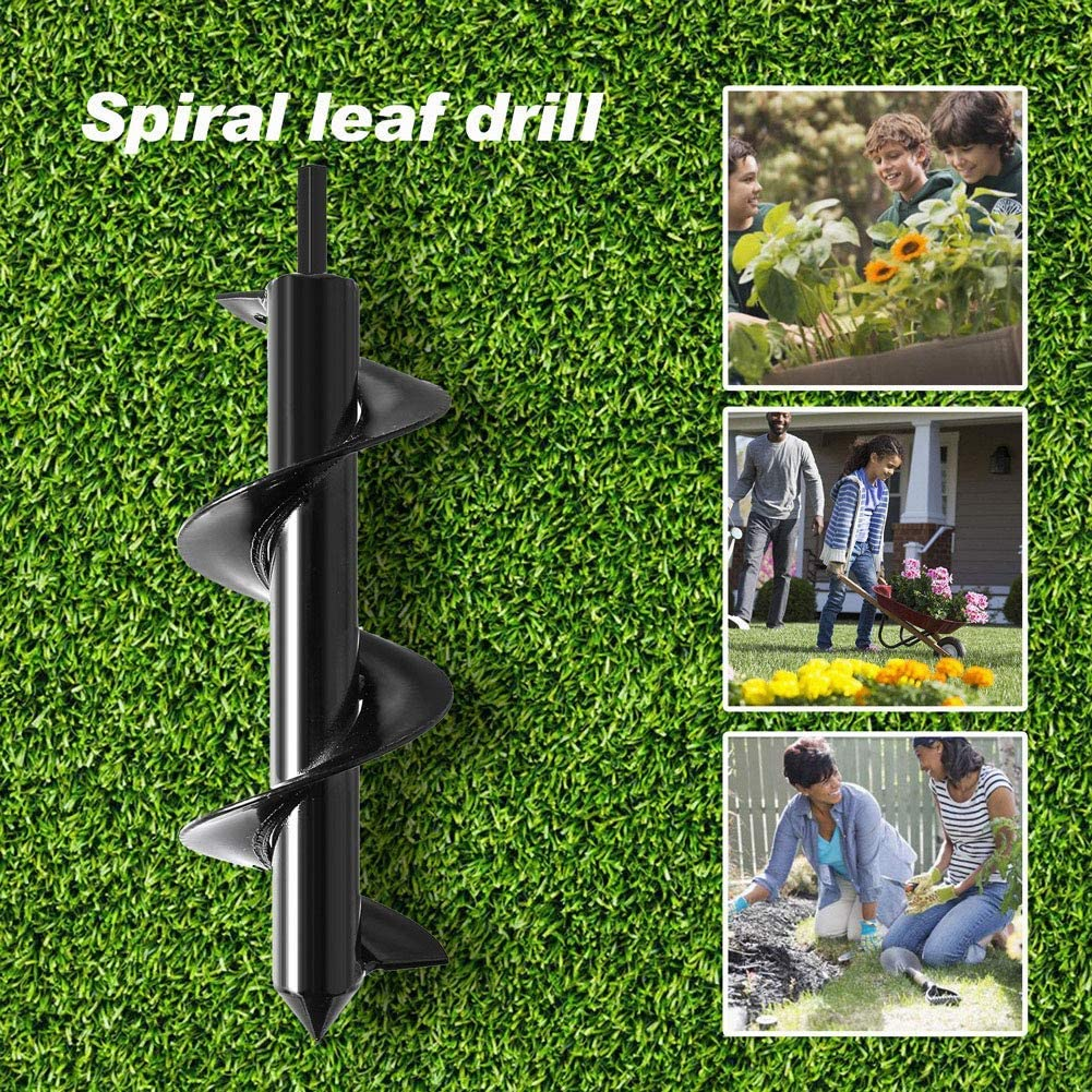 """UPSTONE Durable Auger Drill Bit Non-Slip 3.5/"""" x 10 /"""" HEX Shaft Auger Bedding Plants and Digging Weeds Roots Iris Garden Auger Spiral Drill Bit Black Renewed Post Hole Digger Drill Bit for Tulips"""