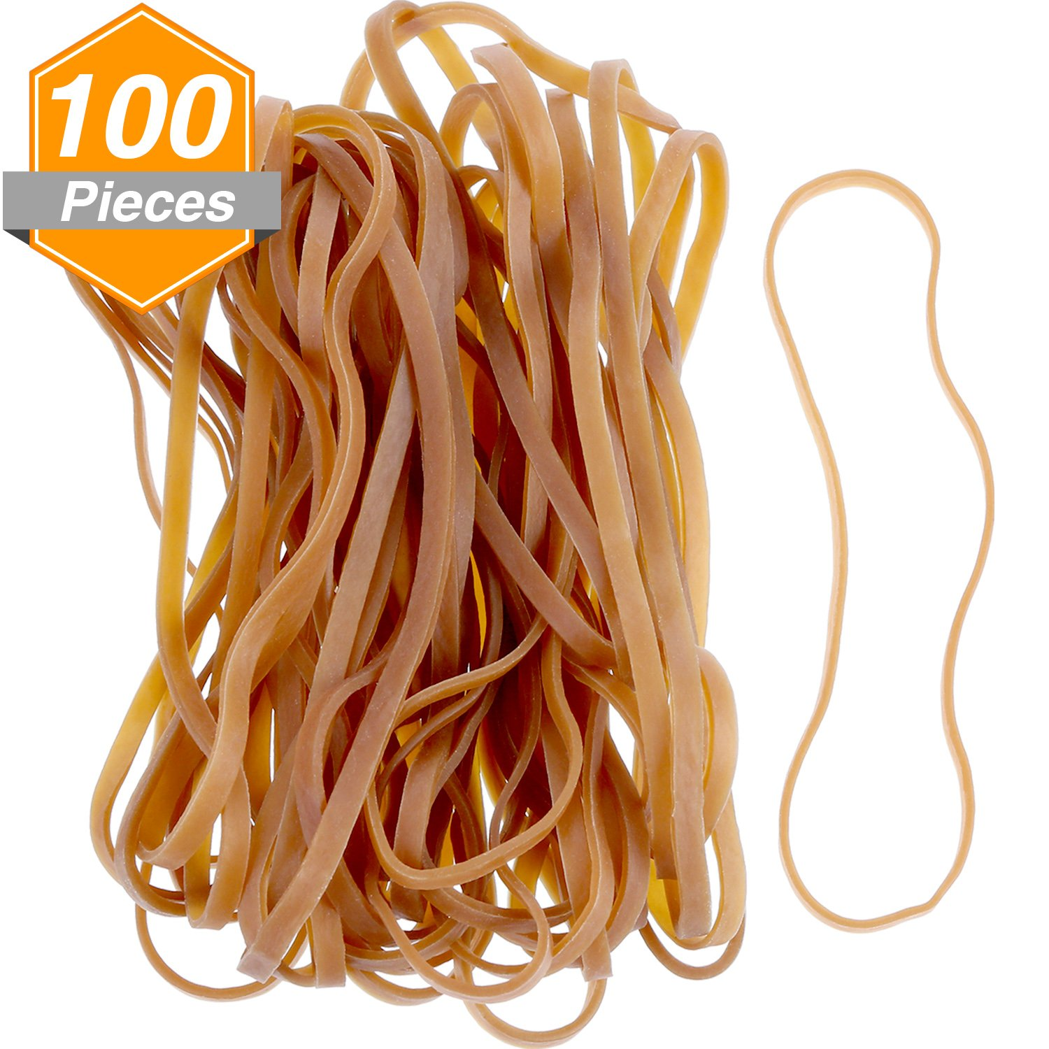 Jetec 100 Pieces Rubber Bands Large Elastic Bands for Office Home School Supplies, Dark Yellow (155 x 4 mm)