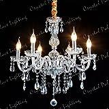 Ridgeyard Classique 6 Feux Pampilles Lustre Verre K9 Cristal Plafonnier Lampe Luminaire