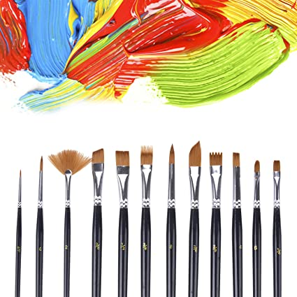 Number brush sizes 1-12 Round Tipped 12pc Artists Paint Brush Set