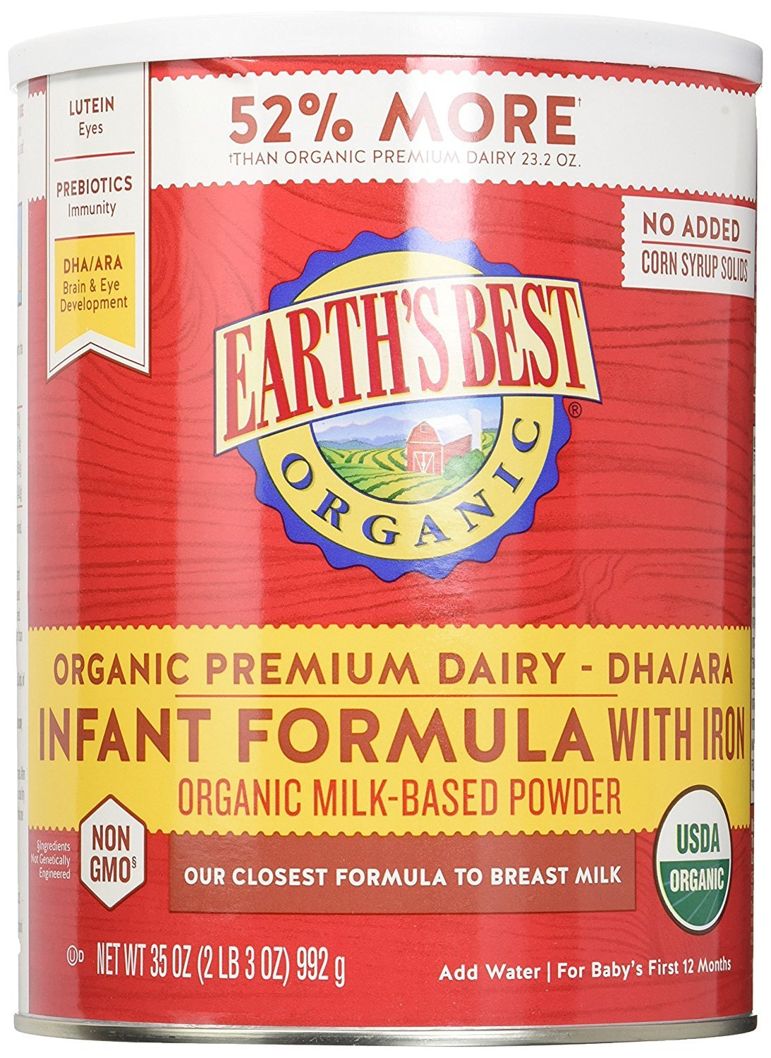 Earth's Best Baby Foods Infant Form,Og2,Iron 35 Oz (Pack Of 4)