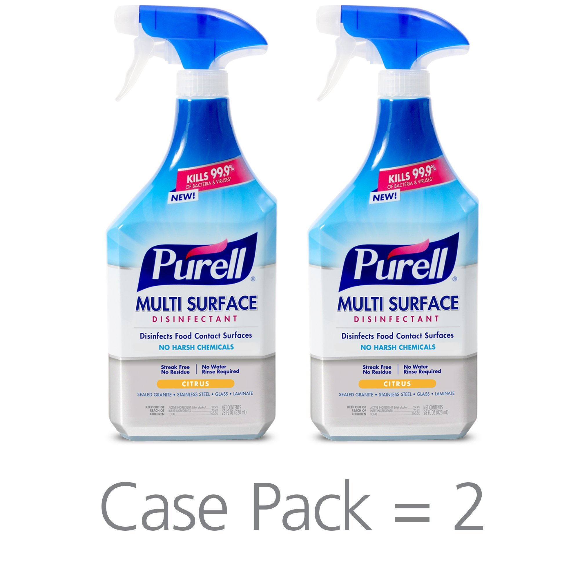 PURELL Multi Surface Disinfectant Spray – Citrus Fragrance, Voted 2018 Product of The Year - 28 oz. Spray Bottle (Pack of 2) - 2844-02-ECCAL