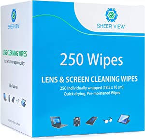 Lens Cleaning Wipes, Pre Moistened Screen and Glass Cleaner Cloth Towelettes for Eyeglasses, Laptops, Cameras, Cell Phones, Tablets, Quick Drying, Disposable with Pack of 250 Lens Wipes by Sheer View