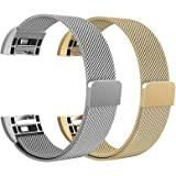 "Fitbit Charge 2 Bands Metal Small & Large (5.5"" - 9.9""), Swees Milanese Stainless Steel Magnetic Replacement Wristband for Fitbit Charge 2 Women Men, Silver, Champagne, Rose Gold, Black, Colorfull"