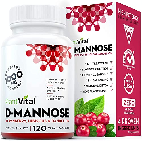 New D-Mannose 1000mg w Cranberry HIGH Potency Urinary Tract Treatment, Bladder Control, Kidney Cleanse UTI Support. 100 Natural Detox. Plus Hibiscus Dandelion. 2 Months Supply