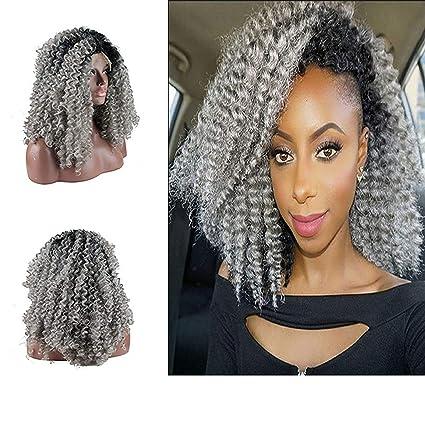 eseewigs Afro Kinky Pelucas De Pelo Rizado Negro Rooted gris Ombre Fibra resistente al calor peluca