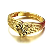 ONEWORLD Women Copper Ring With 18K Gold Plating Concise Wedding Band 3.6Mm Round Size Adjustable