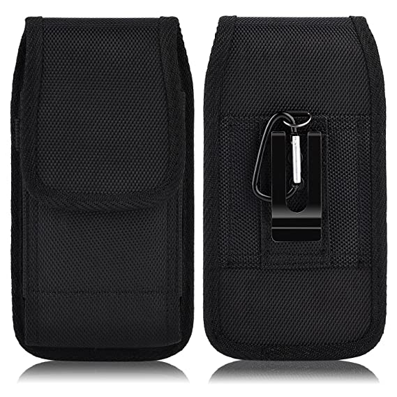 new york bf3e4 10512 PLUS SIZE Pouch Case Holster for APPLE IPHONE 8 PLUS , IPHONE 7 PLUS ,  iPHONE 6 PLUS , iPHONE 6S PLUS [ 5.5''] ~ Heavy Duty Black Nylon Canvas  Flap ...